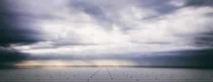 Cielo nublado gris sobre el pavimento de las tejas concretas, bandera ilustración 3D ilustración del vector
