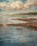 Cielo nublado sobre el lago stock de ilustración