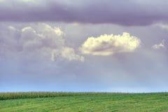 Cielo nuvoloso sopra il campo Fotografie Stock
