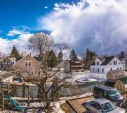 Cielo nuvoloso sopra la città di Westfield Fotografia Stock