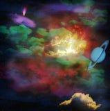 Cielo osmico del ¡ di Ð con le nubi illustrazione di stock