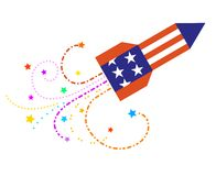 Cielo Rocket con le stelle Fotografia Stock Libera da Diritti