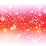 Cielo rojo decorativo con nieve Imagen de archivo libre de regalías