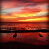 cielo rojo en el placer del marinero de la noche? Imagenes de archivo