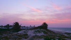 Cielo rosa stupefacente mentre uguagliando tramonto in città araba sul fondo della spiaggia del mare Zoom fuori archivi video