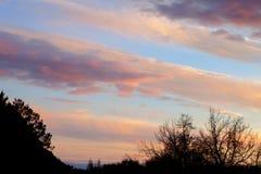 Cielo rosso idilliaco Fotografia Stock