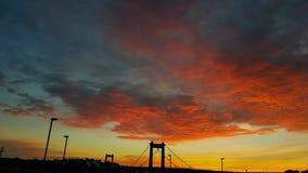 Cielo rosso sangue sopra Plymouth dentro a Cornovaglia Fotografia Stock Libera da Diritti