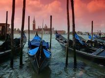 Cielo rosso sopra Venezia Fotografie Stock Libere da Diritti