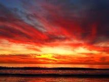 Cielo rosso stasera Fotografia Stock