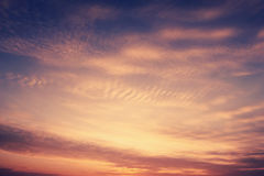 Cielo soñador de la puesta del sol Fotografía de archivo
