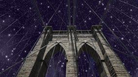 Cielo sopra il ponte di Brooklyn Immagine Stock