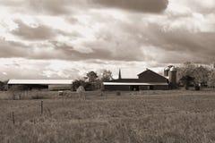 Cielo sopra l'azienda agricola in Pensilvania. B&W Fotografia Stock Libera da Diritti