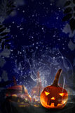 Cielo stellato di notte delle zucche di progetto Halloween Fotografia Stock Libera da Diritti