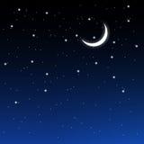 Cielo stellato e mezzaluna Immagine Stock Libera da Diritti