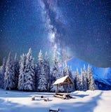 Cielo stellato in una notte di San Silvestro fantastica fotografia stock