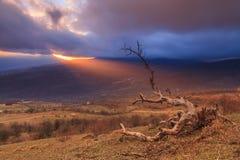 Cielo stupefacente di alba sopra le montagne fotografia stock libera da diritti