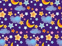 Cielo sveglio del fumetto del fondo senza cuciture con la nuvola e la luna di stelle per i bambini ed il tessuto del bambino, car illustrazione vettoriale