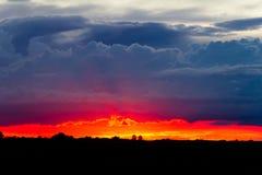 Cielo tempestoso di tramonto Fotografie Stock