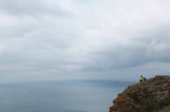 Cielo tempestoso di vista sul mare Fotografia Stock