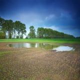Cielo tempestoso sopra il paesaggio rurale Immagini Stock Libere da Diritti