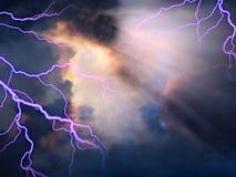 Cielo tempestuoso con luz del sol stock de ilustración