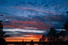 Cielo variopinto di tramonto Bello cielo variopinto Priorità bassa del cielo Fotografie Stock