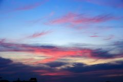 Cielo variopinto irreale magico ad alba Fotografie Stock