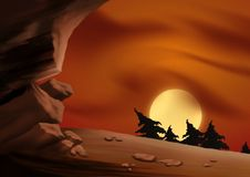 Cielo y cueva rojos stock de ilustración