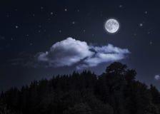 Cielo y luna estrellados de la noche sobre la montaña Foto de archivo libre de regalías