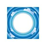 Cielo y nubes en plantilla del fondo del marco del círculo Fotografía de archivo