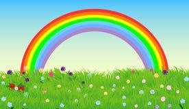 Cielo y prado verde de la primavera, fondo del arco iris del vector ilustración del vector