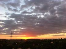 Cielo y puesta del sol Imagen de archivo