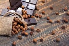 Ciemna czekolada i dokrętki Zdjęcie Royalty Free