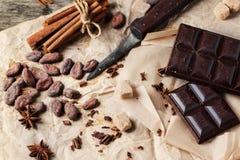 Ciemna czekolada z kakaowymi fasolami Zdjęcie Royalty Free