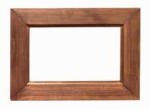 Ciemna drewniana obrazek rama na białym backround obrazy royalty free