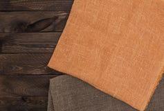 Ciemna drewniana tekstura i tkaniny tekstura Fotografia Stock