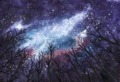 Ciemna noc Wszechrzeczej akwareli pociągany ręcznie ilustracja - Milky sposób w niebie przez sylwetek drzewa - Obraz Stock