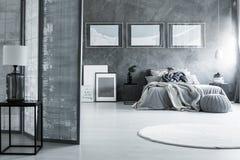 Ciemna sypialnia z białym dywanem Zdjęcia Stock