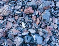 Ciemna tekstura burnt węgiel odżużlać kamienie Zdjęcie Royalty Free