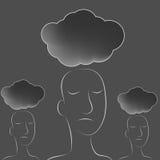 ciemne chmur głowy zaludniają Obrazy Royalty Free