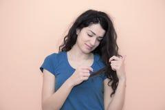 ciemne kręcone włosy kobiety Obrazy Royalty Free