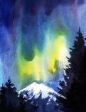 Ciemne sylwetki wysokie jodły przeciw tłu północni światła nakrywać góry i ilustracji