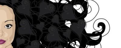 ciemne włosy z całego serca ilustracja wektor