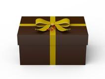 Ciemnego brązu prezenta pudełko z żółtym tasiemkowym łękiem ilustracja wektor