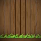 Ciemnego brązu tła Drewniana Wektorowa tekstura i zielona trawa Zdjęcie Stock