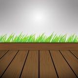 Ciemnego brązu tła Drewniana Wektorowa tekstura i zielona trawa Obraz Royalty Free