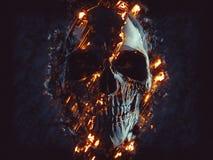 Ciemnego czerni czaszka - jarzyć się płomienie i lawę ilustracja wektor