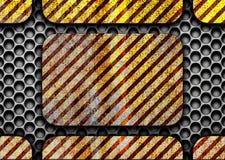 Ciemnego metalu grungy tło z ostrzegawczymi liniami, 3d, illustratio Fotografia Stock