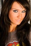 ciemnego mody z włosami głowy modela seksowna strzału kobieta Obraz Royalty Free