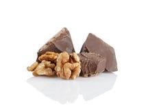 Ciemni czekoladowi kawały z orzechem włoskim Obraz Stock